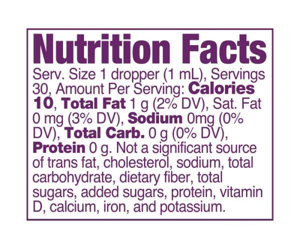 Strainz CBD750 Berry Nutrition Panel