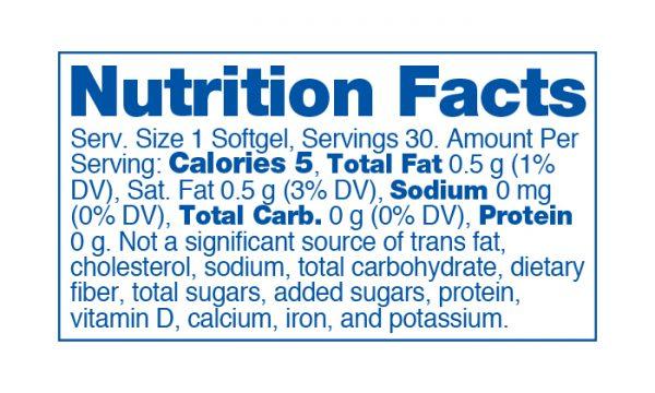 Strainz Softgelz CBD750 Nutrition Panel